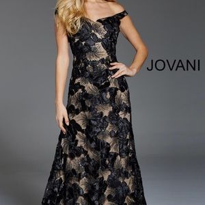 Jovani 52187 Black and Nude